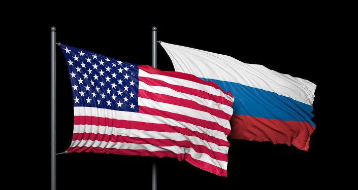 Banderas de EEUU y de Rusia