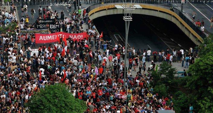 El Movimento Passe Livre de Brasil protesta por segunda vez en el centro São Paulo