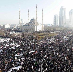Manifestación en apoyo a los valores musulmanes en Grozni