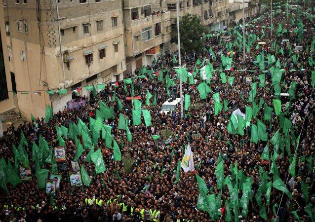 Los partidarios de Hamas en una marcha (archivo)