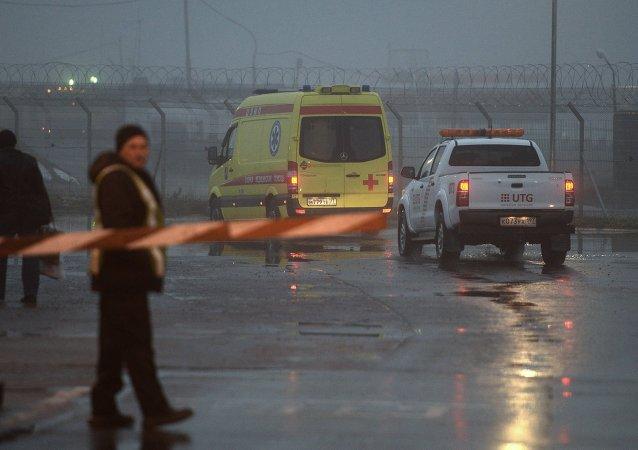 El lugar del accidente del avión Falcon en el aeropuerto Vnúkovo (archivo)