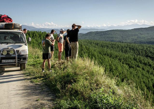 Turistas de Rusia en Altái