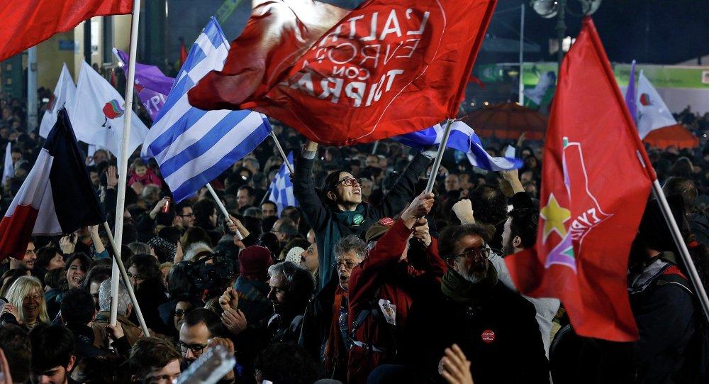 Partidarios de la coalición de izquierda radical Syriza