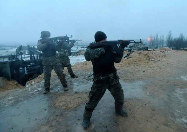 Militares ucranianos en Donetsk
