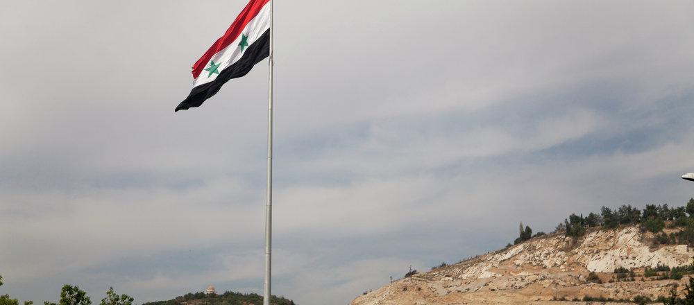 Bandera de Siria en Damasco