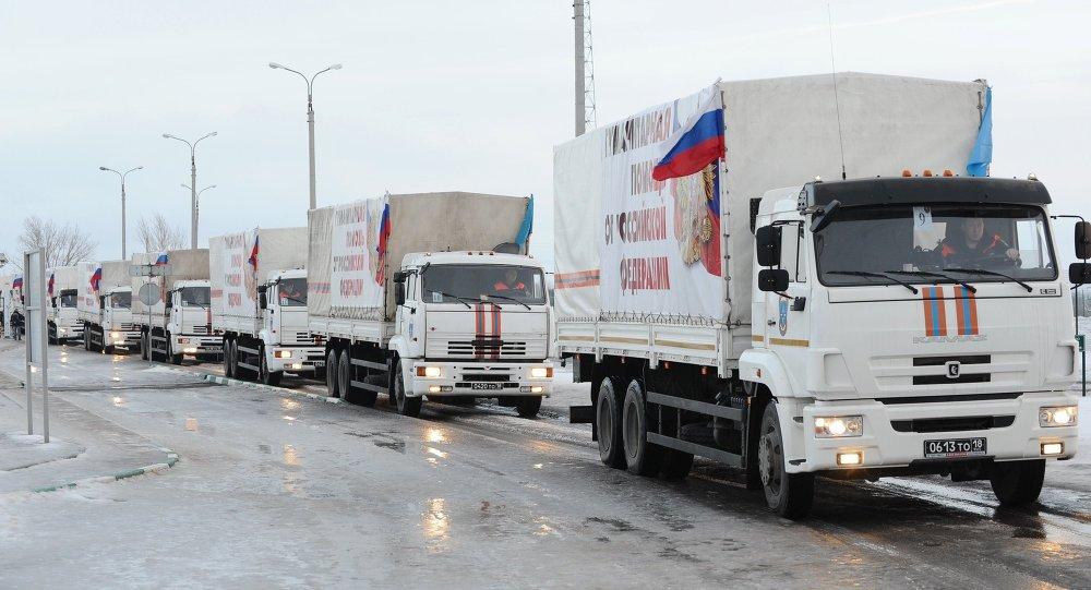 Un convoy humanitario ruso a Ucrania (archivo)