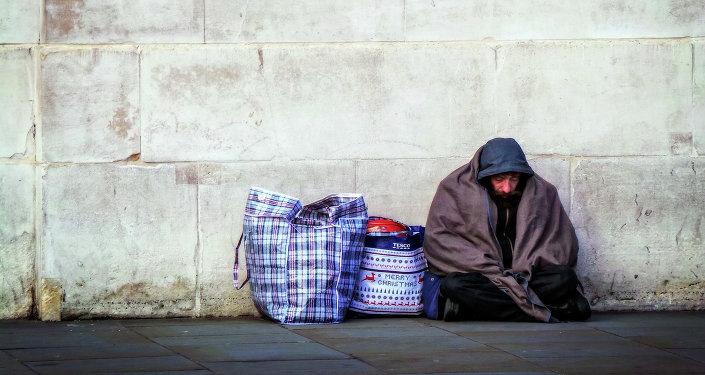 Hombre sin hogar en Londres