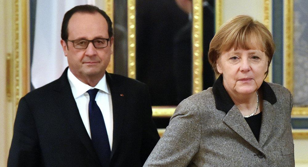 Cancillera de Alemania, Angela Merkel y presidente de Francia, François Hollande