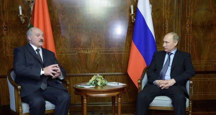 Presidente de Bielorrusia, Alexandr Lukashenko y presidente de Rusia, Vladímir Putin