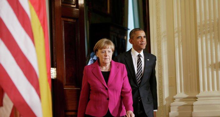 Canciller de alemana Angela Merkel y presidente de EEUU Barack Obama
