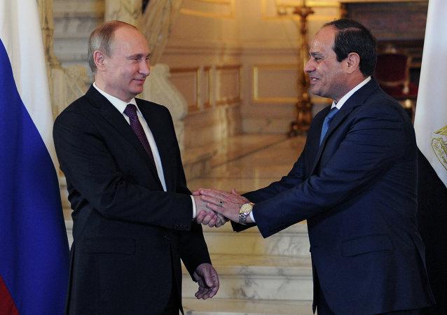 El residente de Rusia, Vladímir Putin y presidente de Egipto, Abdelfatah al Sisi