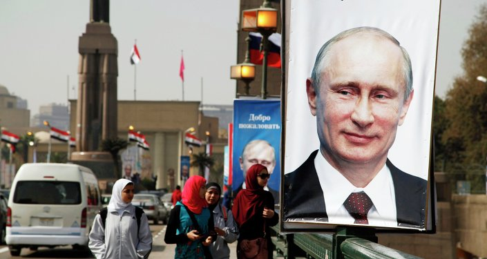 Retrato de Vladímir Putin en El Cairo
