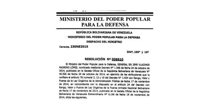 Texto completo de la Resolución 008610 en la Gaceta oficial de la República Bolivariana de Venezuela