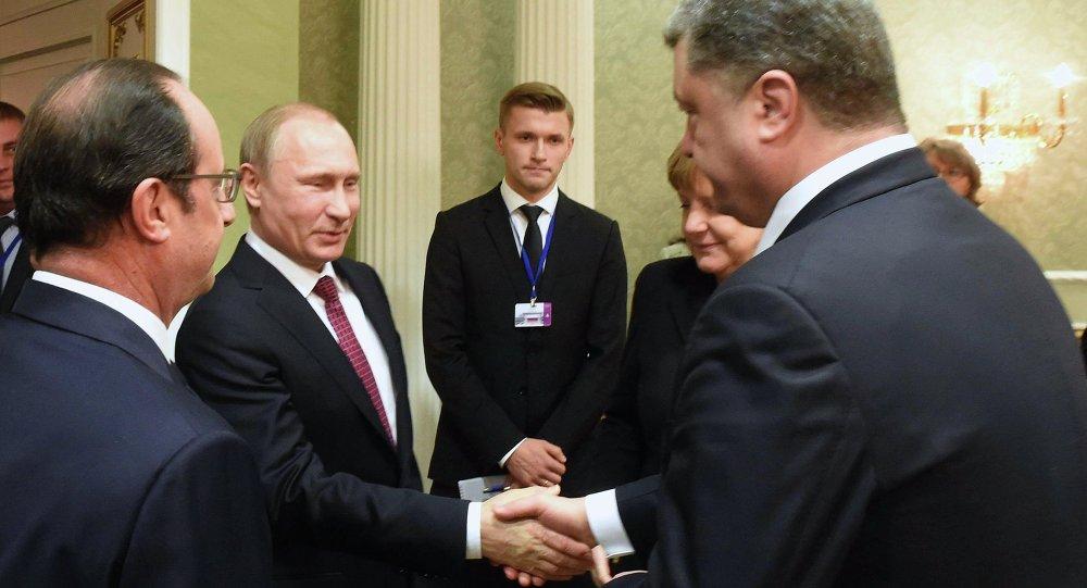Los líderes de Francia, Rusia, Alemania y Ucrania en la cumbre de Minsk