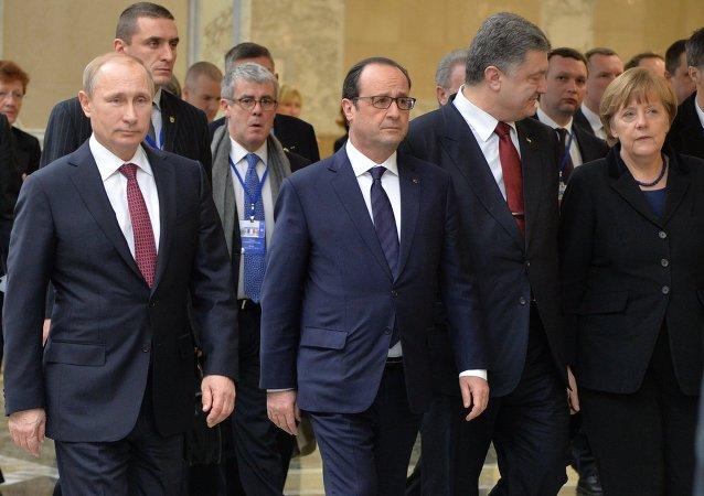 Los líderes de Alemania, Francia, Rusia y Ucrania en la cumbre de Minsk