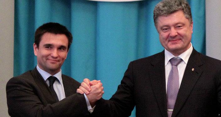 Ministro de Exteriores de Ucrania, Pavló Klimkin y presidente de Ucrania, Petró Poroshenko