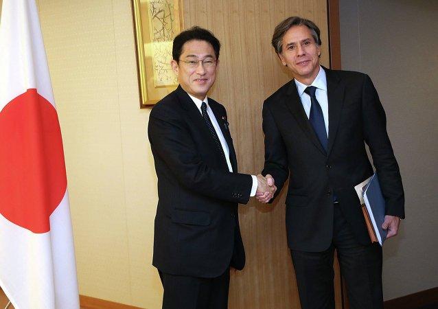 Fumio Kishida, ministro de Exteriores de Japón y subsecretario de Estado de EEUU, Anthony Blinken