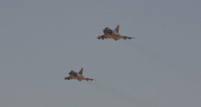 Dos cazas Mirage de la Fuerza Aérea de Egipto