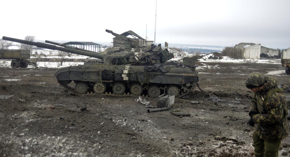 Soldado ucraniano cerca de la ciudad de Debáltsevo