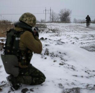 Militares ucranianos en el este de Ucrania