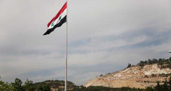 Bandera siria en Damasco