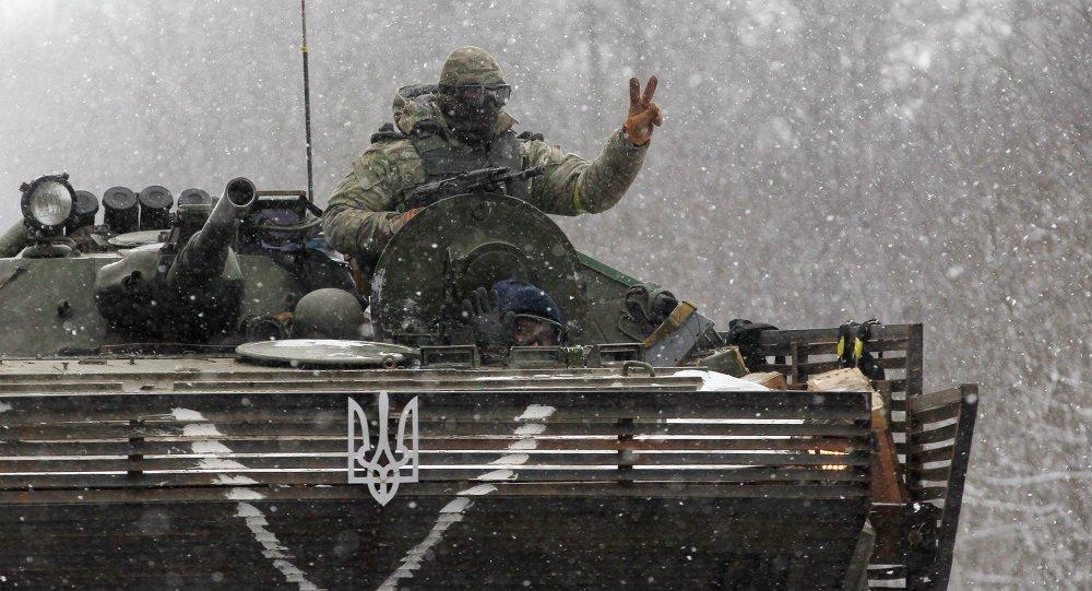 Un tanque ucraniano cerca de Debaltsevo (16 de febrero de 2015)