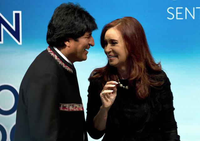 Presidente de Bolivia, Evo Morales y presidenta de Argentina, Cristina Fernández de Kirchner