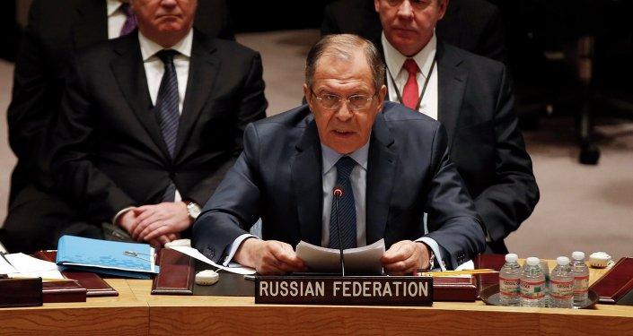 Serguéi Lavrov, ministro de Asuntos Exteriores de Rusia en la reunión Consejo de Seguridad de la ONU