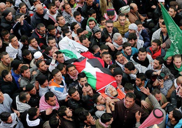 Funerales de Jihad Shehada al Jaafari, de 19 años, matado por los fuerzas israelís
