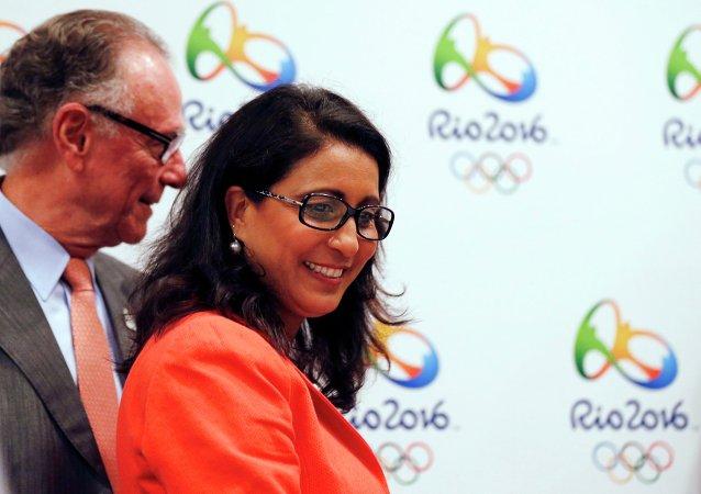 Jefa de la Comisión de Coordinación de COI, Nawal El Moutawakel, y presidente del Comité Organizador de Río 2016, Carlos Arthur Nuzman