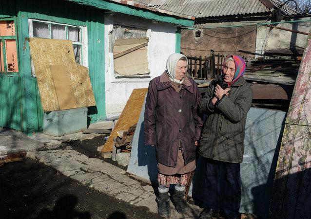 Situación en un pueblo cerca de Donetsk