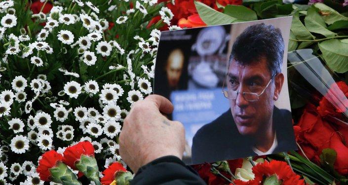 Flores en el lugar del asesinato de Borís Nemtsov