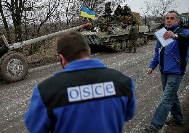 Miembros de la misión especial de la OSCE en Ucrania