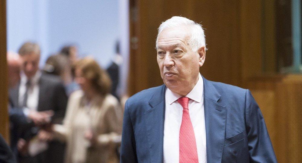 Ministro de Asuntos Exteriores y de Cooperación de España, José Manuel García-Margallo llega por un consejo de ministro de asuntos exteriores de la UE en Bruselas, 12 de mayo 2014