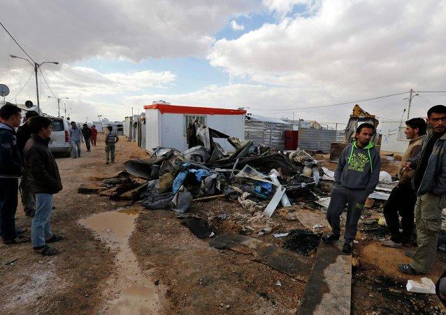 Refugiados sirios en el campo de refugiados de Al-Zaatari en la ciudad jordana de Mafraq
