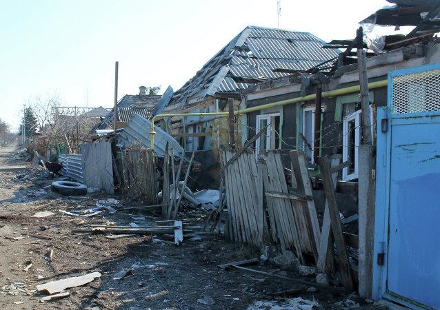 Zonas devastadas cerca del aeropuerto en Donetsk