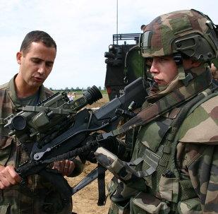 Soldados franceses, foto de archivo