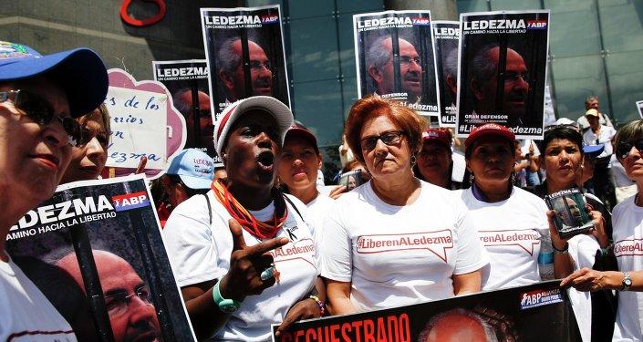 Manifestación en apoyo al opositor venezolano Antonio Ledezm