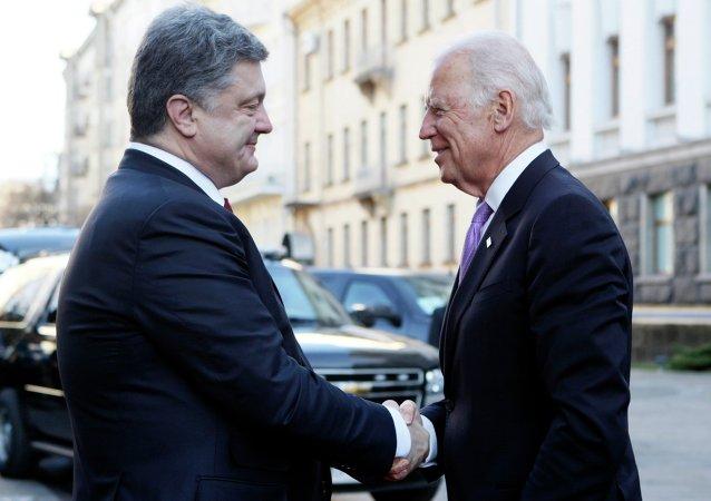 Presidente de Ucrania, Petró Poroshenko, y vicepresidente de EEUU, Joe Biden