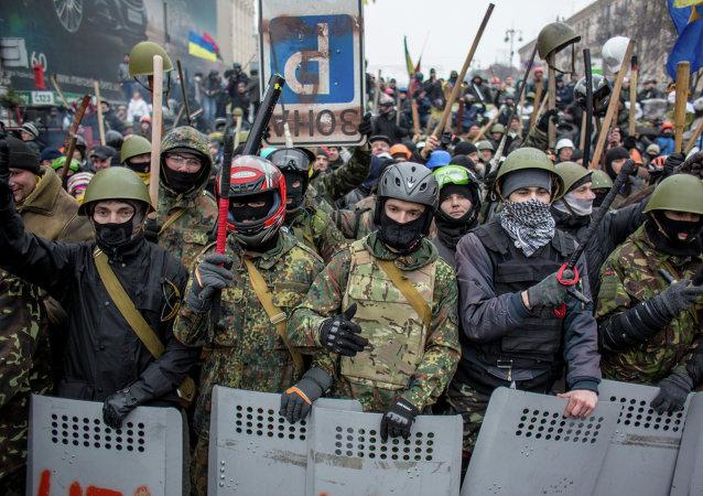 Nacionalistas armados en la Plaza de la Independencia (Maidán Nezalézhnosti) en Kiev (Archivo)