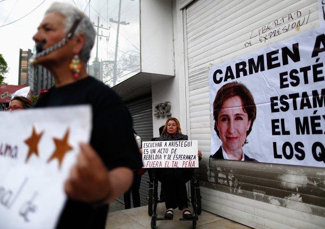 Manifestación contra el despido de Carmen Aristegui