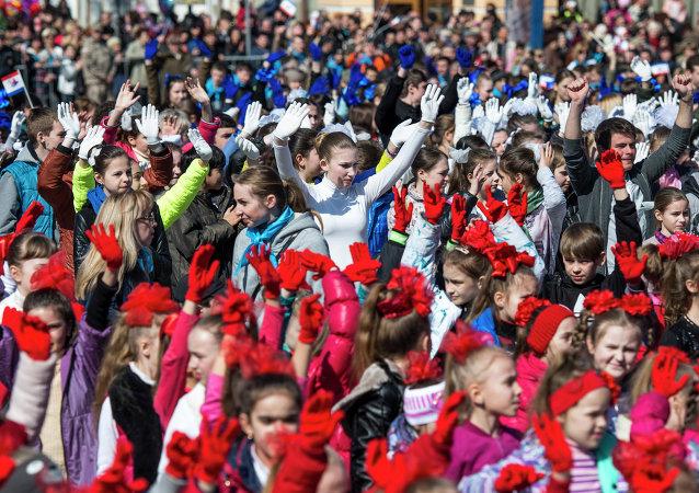 La celebración del aniversario de la Primavera de Crimea en Simferópol