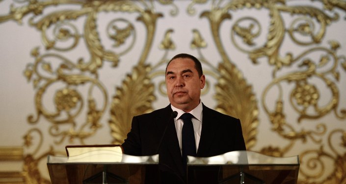 Líder de la autoproclamada República Popular de Lugansk (RPL), Ígor Plotnitski, durante su inauguración en noviembre de 2014