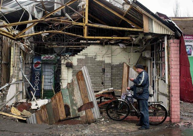 Casa destruida en Debáltsevo