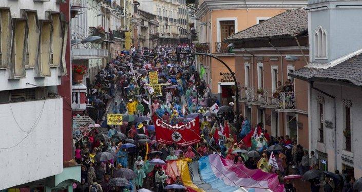 Marcha de protesta en Quito, 19 de marzo