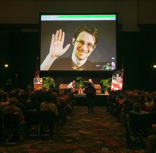 Edward Snowden, durante una videoconferencia