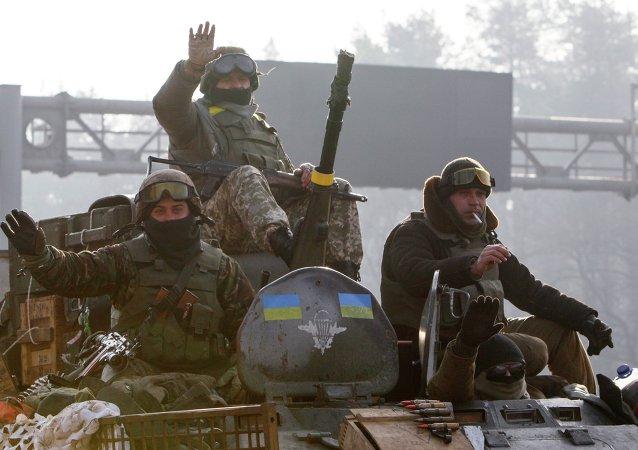 Soldados de ejército de Ucrania