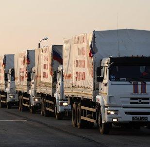 Camiones y autos con ayuda humanitaria