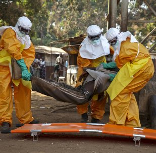 Médicos recogen a un infectado con ébola en Gunea (archivo)