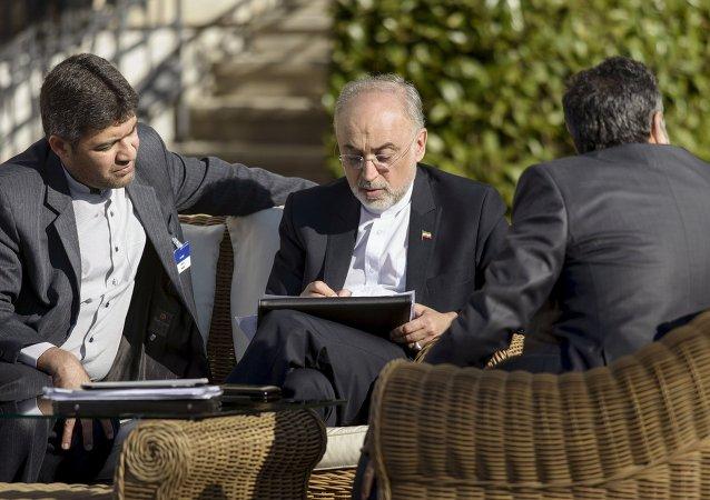 Alí Akbar Salehi, jefe de la Agencia de Energía Atómica de Irán, en Lausana